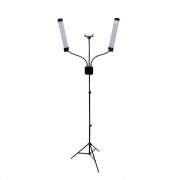 Kit de Iluminação Led Duplo com Braços Flexíveis e Tripé de 2m para Estúdios de Fotografia