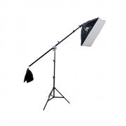 Kit de Iluminação para Estúdio Fotográfico com Softbox 50x70cm, Tripé 2m e Braço Articulado 140cm Sou Foto