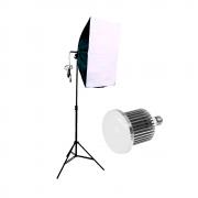 Iluminação para Fotografia com Softbox 50x70cm, Tripé 2m e Lâmpada de Led 50w