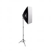 Kit de Iluminação Softbox Greika 50x70cm com Soquete E-27 Embutido e Tripé de 2m para Estúdio Fotográfico