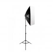 Kit de Iluminação Softbox Quádruplo Vareta 50x70cm Greika com Tripé de 2,40m para Fotografia