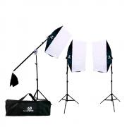 Kit de Iluminação para Fotografia Softbox Vareta 50x70cm, Tripés, Braço Girafa e Bolsa