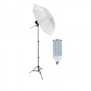 Kit de Iluminação Sombrinha Difusora Greika 84cm com Tripé e Lâmpada de Led 60w
