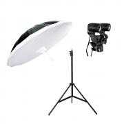 Kit de Iluminação Sombrinha RUS-150, Soquete Duplo e Tripé de Iluminação de 2,40cm para Estúdios de Fotografia