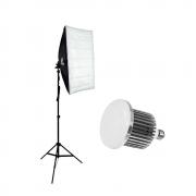 Kit Iluminação para Foto e Vídeo Sou Foto com Softbox 50x70cm, Tripé de 2m e Lâmpada Led 50W