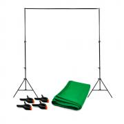 Kit de Suporte para Fundo Infinito SFI-222 com Fundo Verde Chroma Key 2x2,80m + Grampos