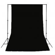 Kit de Suporte para Fundo Infinito SFI-222 + Fundo Infinito Oxford Preto 1,5m x 2m