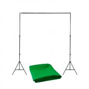 Kit de Suporte para Fundo Infinito SFI-222 + Fundo Infinito Oxford Verde Chroma Key 1,5m x 2m