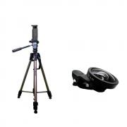 Kit de Tripé de Câmera Weifeng WT-3750 com Suporte de Celular e Lente Super Wide para Fotos e Vídeos