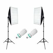 Kit Duplo de Iluminação 110V para Estúdio Fotográfico com Softbox, Tripé e Lâmpada 150w