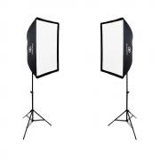 Kit Duplo de Iluminação com Softbox Universal 60x90cm, Suporte Holder e Tripés de Iluminação para Estúdio Fotográfico