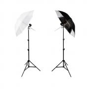 Kit de Iluminação Duplo com Sombrinha Branca Difusora e Preta/Prata Refletora, Tripés de 2m e Soquete E-27