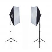 Kit Duplo de Iluminação Softbox Luz de Led para Foto e Vídeo 50x70cm Greika com Tripé 2,40m