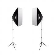 Kit Duplo de Iluminação Softboxes Greika 50x70cm com Soquetes E-27 Embutidos e Tripés de 2m para Estúdio Fotográfico