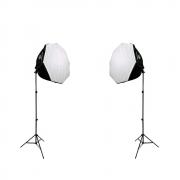 Kit Duplo de Iluminação Softboxes Octagonal 60cm Greika com Soquetes E-27 e Tripés de 2m para Estúdios de Fotografia