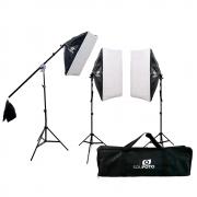 Kit Duplo para Iluminação Estúdios de Fotografia com Softbox, Tripés 2m, Braço Girafa e Bolsa Sou Foto