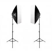 Kit Duplo Softbox Quádruplo Vareta 50x70cm Greika com Tripé de 2,40m para Estúdios Fotográficos