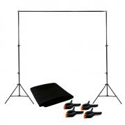 Kit Fotográfico com Fundo em Tecido Preto 2m x 2,80m e Suporte SFI-243 + 4 Grampos