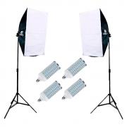 Kit Iluminação com Duplo Softbox Vareta 50x70cm completo e Lâmpadas de Led 60w para Estúdio Fotográfico