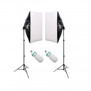 Kit Iluminação com Softbox 50x70cm, Tripé de Iluminação e Lâmpadas 110V 155W