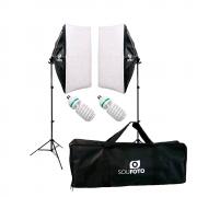 Kit Iluminação Completo com Softbox Duplo 50x70cm, Tripés de 2m, Lâmpadas 110V 155W e Bolsa BKI-76 Sou Foto