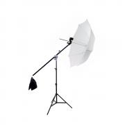 Kit de Iluminação com Sombrinha Difusora e Tripé com Braço Girafa Sou Foto para Estúdio Fotográfico