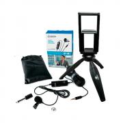 Kit Microfone de Lapela BOYA BY-M1 com Mini Tripé Greika WT-04 para Gravação de Vídeo