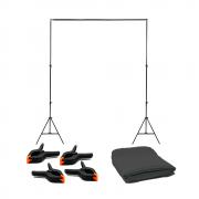 Kit para Estúdio Fotográfico com Suporte 2x2m, Tecido Cinza 1,5 x 2m e Grampos