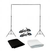 Kit para Foto e Vídeo com Suporte SFI-222, Fundo Infinito Oxford Preto e Branco + Grampos