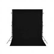 Kit para Foto e Vídeo com Suporte SFI-222, Fundo Infinito Oxford Preto e Grampos