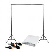 Kit para Fotografia com Fundo Branco 2m x 2,80m com Suporte SFI-243 + 4 Grampos