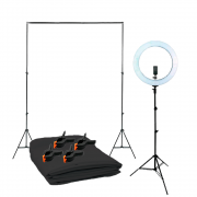 Kit para Fotografia Com Fundo Oxford Cinza 1,5m x 2m completo e Iluminador Ring Light RL-19