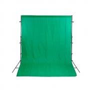 Kit para Foto e Gravação de Vídeo com Fundo Chroma Key Verde Muslin, Suporte de 2m e Grampos