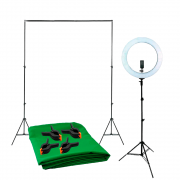 Kit para Gravação de Vídeo Fundo Chroma Key Verde 1,5m x 2m completo e Ring Light RL-19