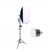 Luz para Gravar Vídeo com Suporte para Celular, Softbox completo e Lâmpada de 50w