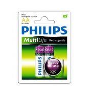 Pilha Recarregável Philips AA com 2 1.2V 2000mAh NiMh