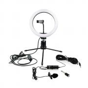 Ring Light 26cm com Microfone de Lapela BOYA BY-M1 para Gravação de Vídeo