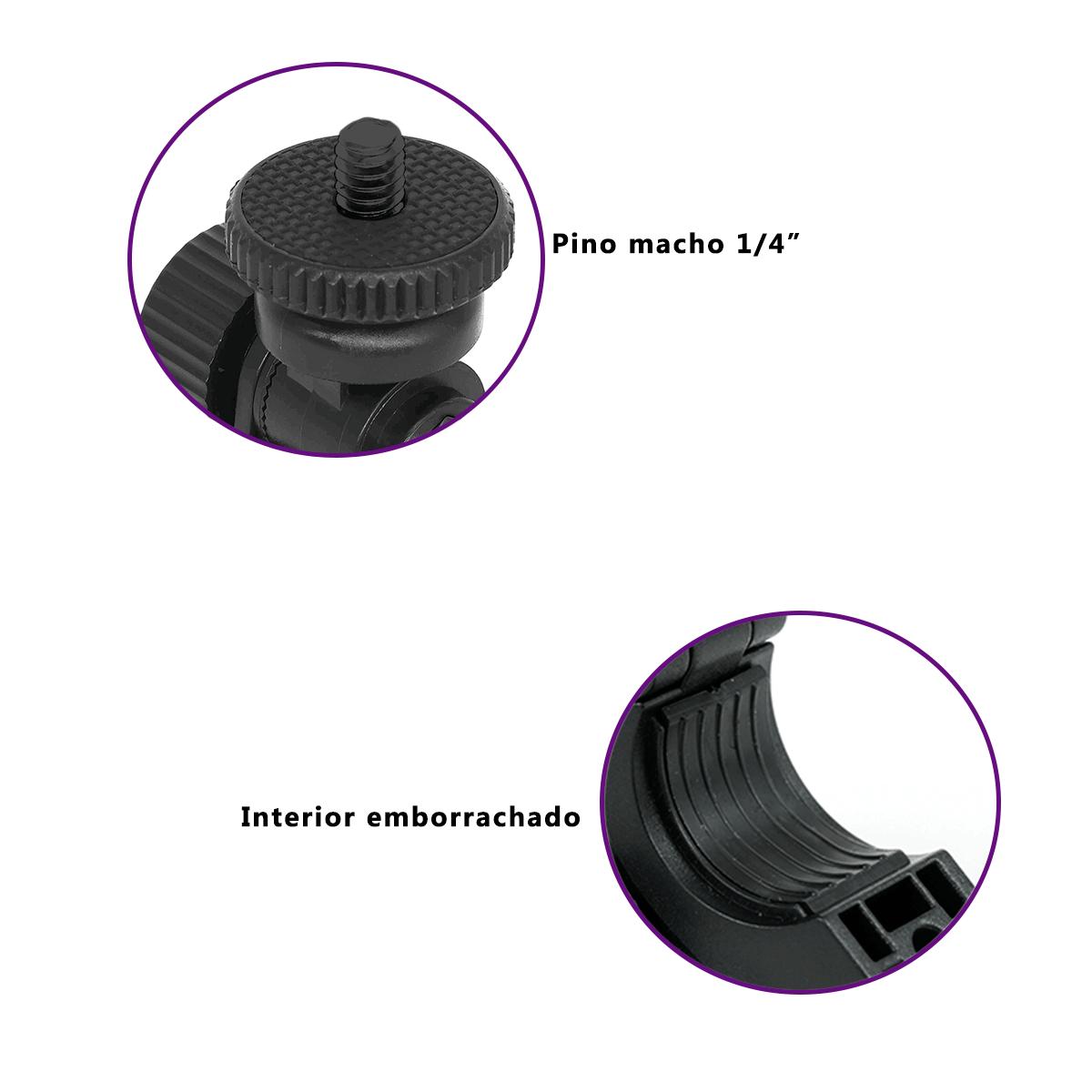 Adaptador Braçadeira para Tripé de Iluminação e Guidão de Moto ou Bicicleta  - Fotolux