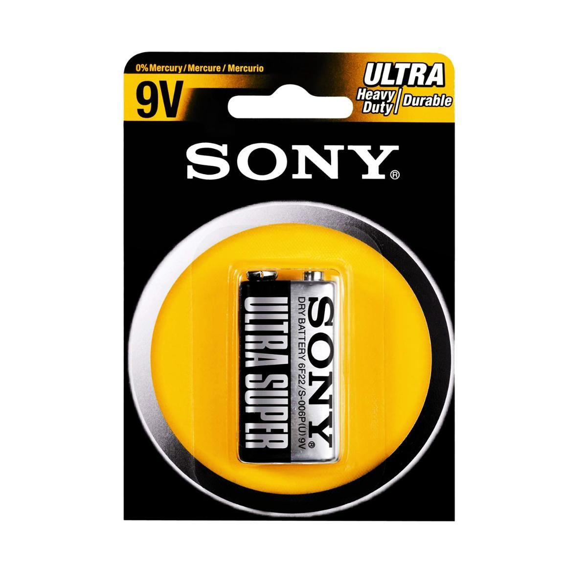 Bateria Sony de Zinco Carbono 9V S-006P-B1A ULTRA Heavy Duty