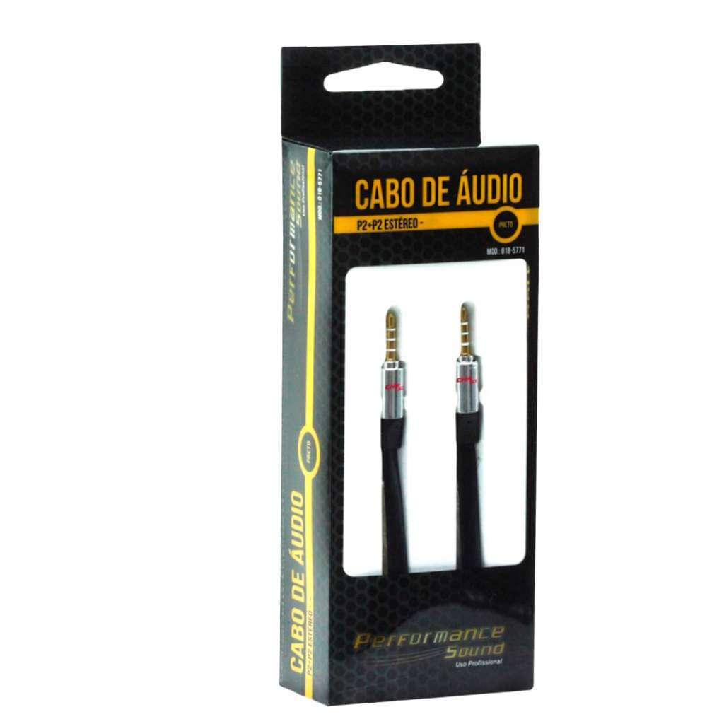 Cabo de Áudio P2 para P2 Estéreo Performance Sound Chip Sce  - Fotolux