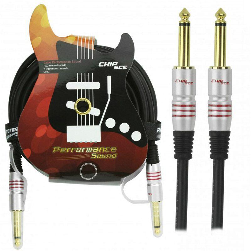 Cabo P10 Mono para P10 Mono Plug Gold Performance Sound Chip Sce