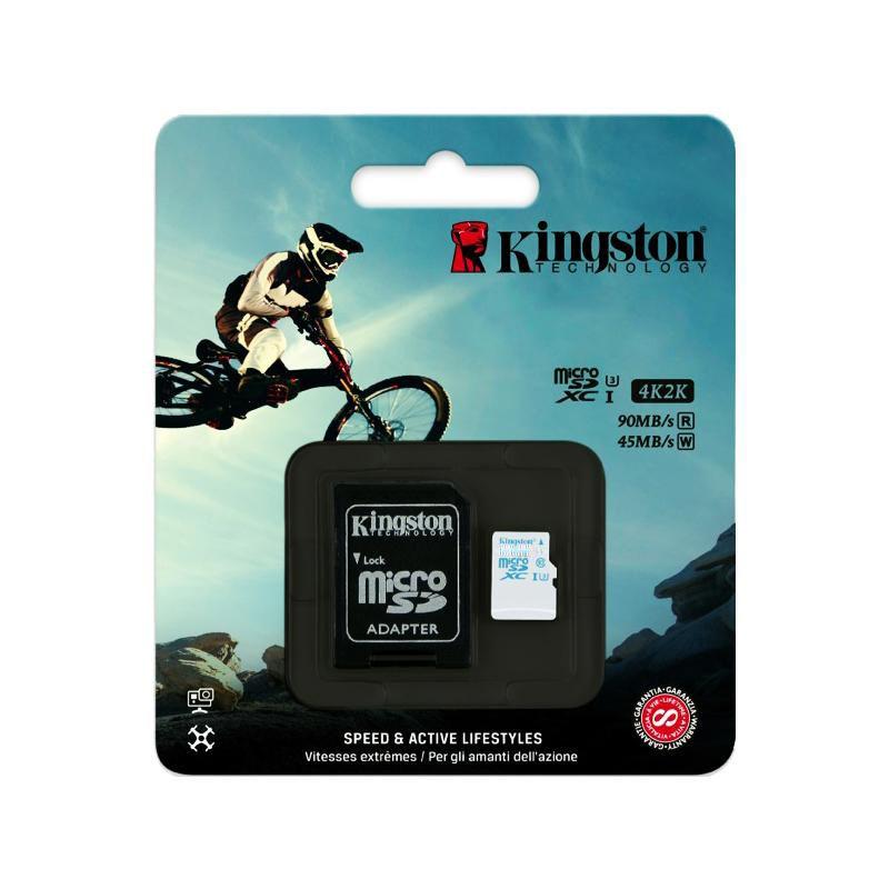 Cartão de Memória Kingston MicroSD Action Classe 10 U3 4K2K 90MB/s com Adaptador - SDCAC