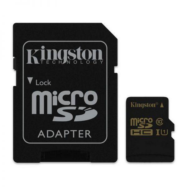 Cartão de Memória Kingston MicroSD Classe 10 U1 90MB/s com Adaptador - SDCA10