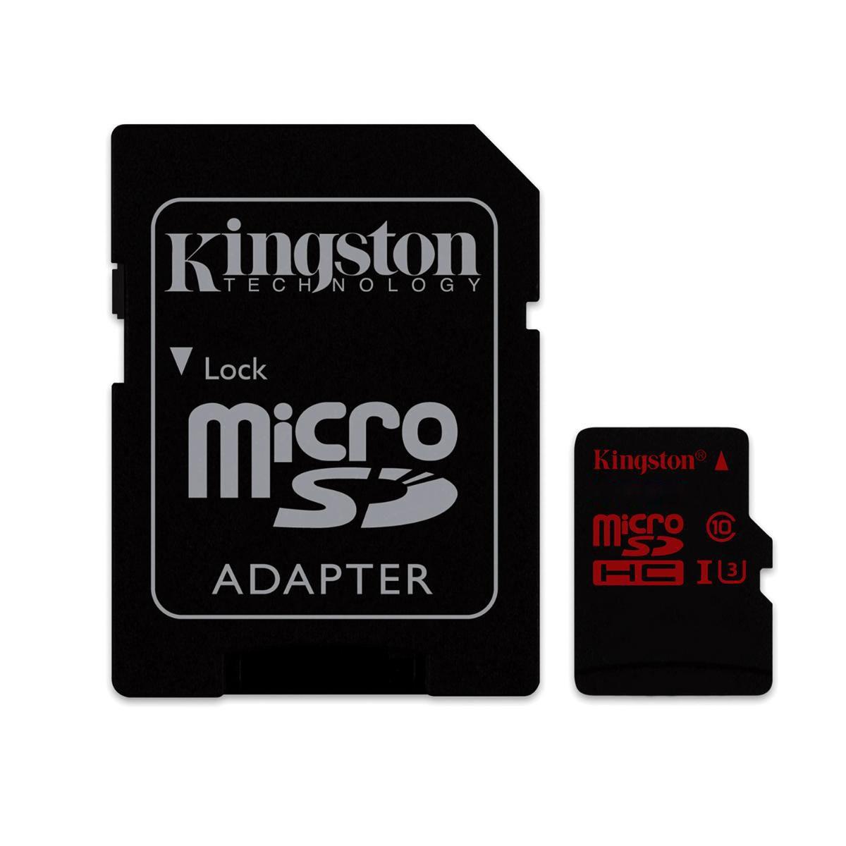 Cartão de Memória Kingston MicroSD Classe 10 U3 90MB/s e 80MB/s com Adaptador - SDCA3