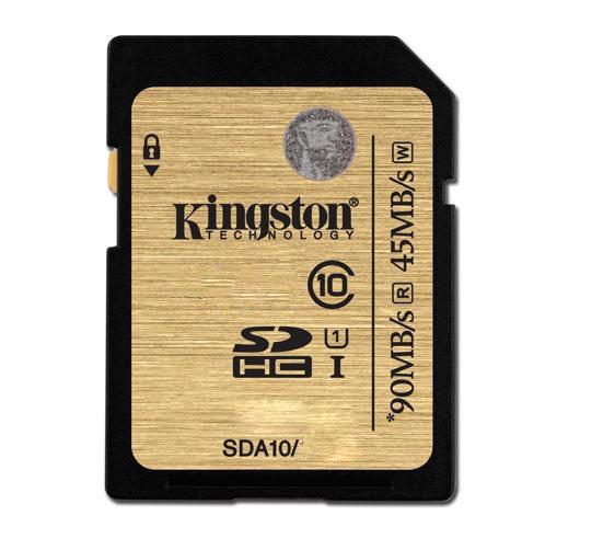Cartão de Memória Kingston SD Classe 10 U1 HD 45MB/s e 90MB/s - SDA10