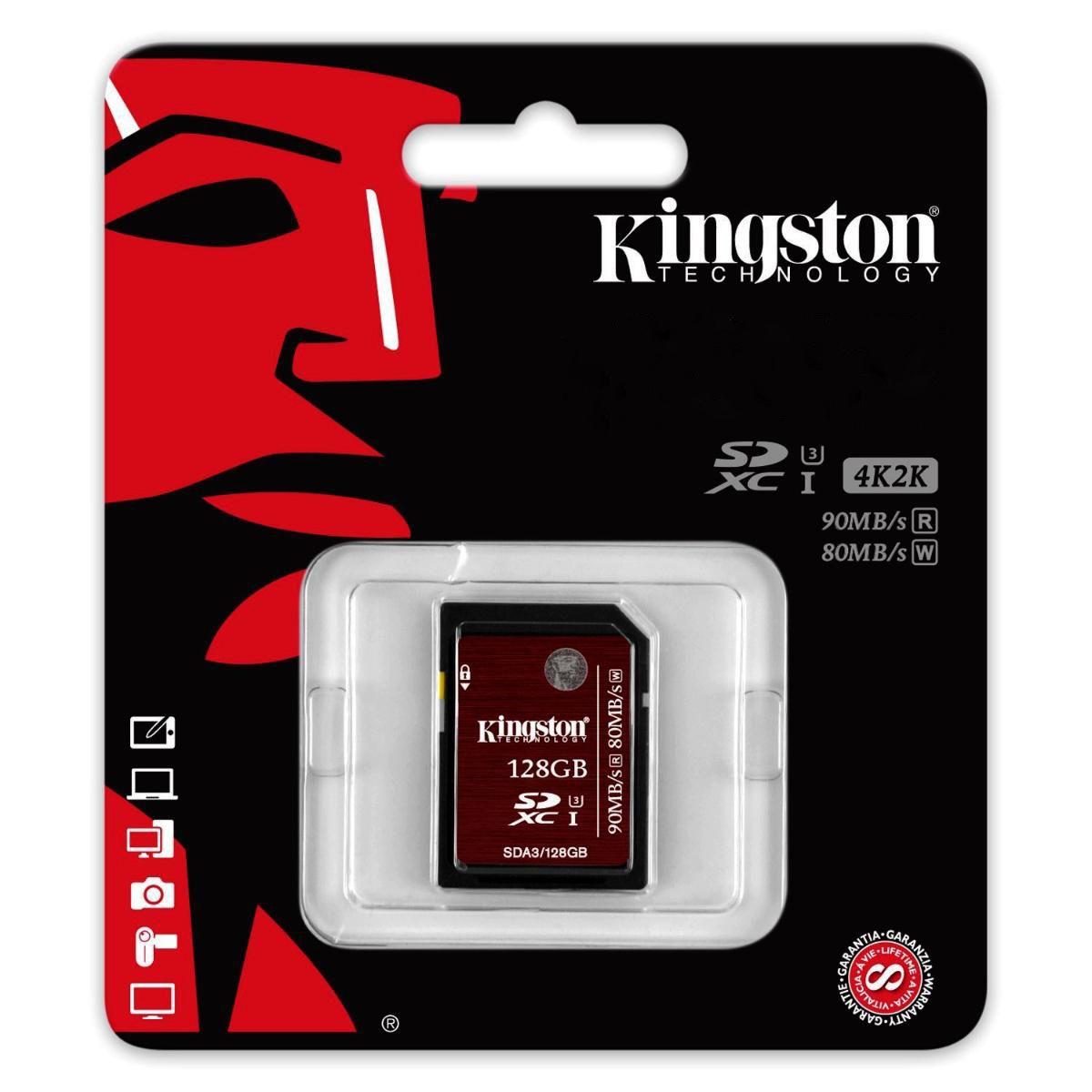 Cartão de Memória Kingston SD Classe 3 (U3) 4K 2K UHS 90MB/s - SDA3  - Fotolux