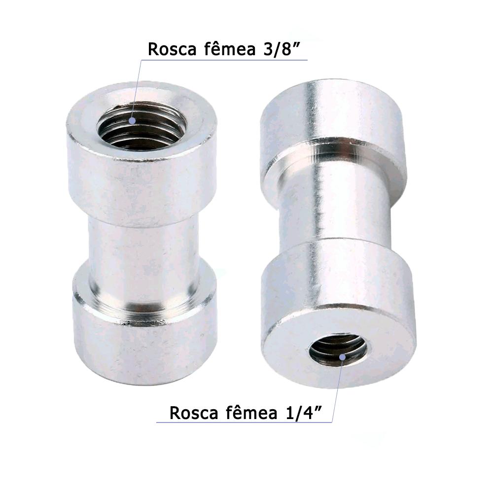 Engate Rápido Fêmea 1/4 para 3/8 Adaptador para Tripé de Iluminação YA-435  - Fotolux