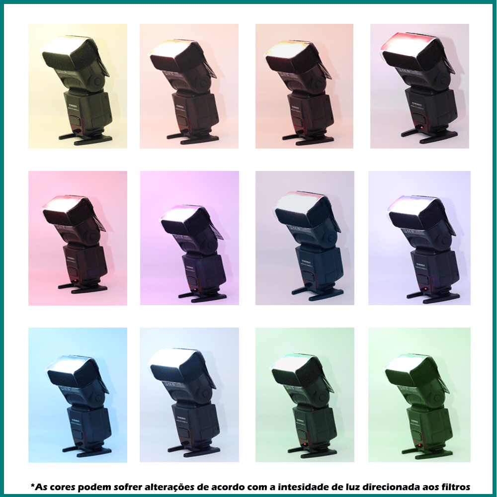 Filtro Colorido Gelatina 12 cores para Flash Speedlite Sou Foto FPC-FS12   - Fotolux