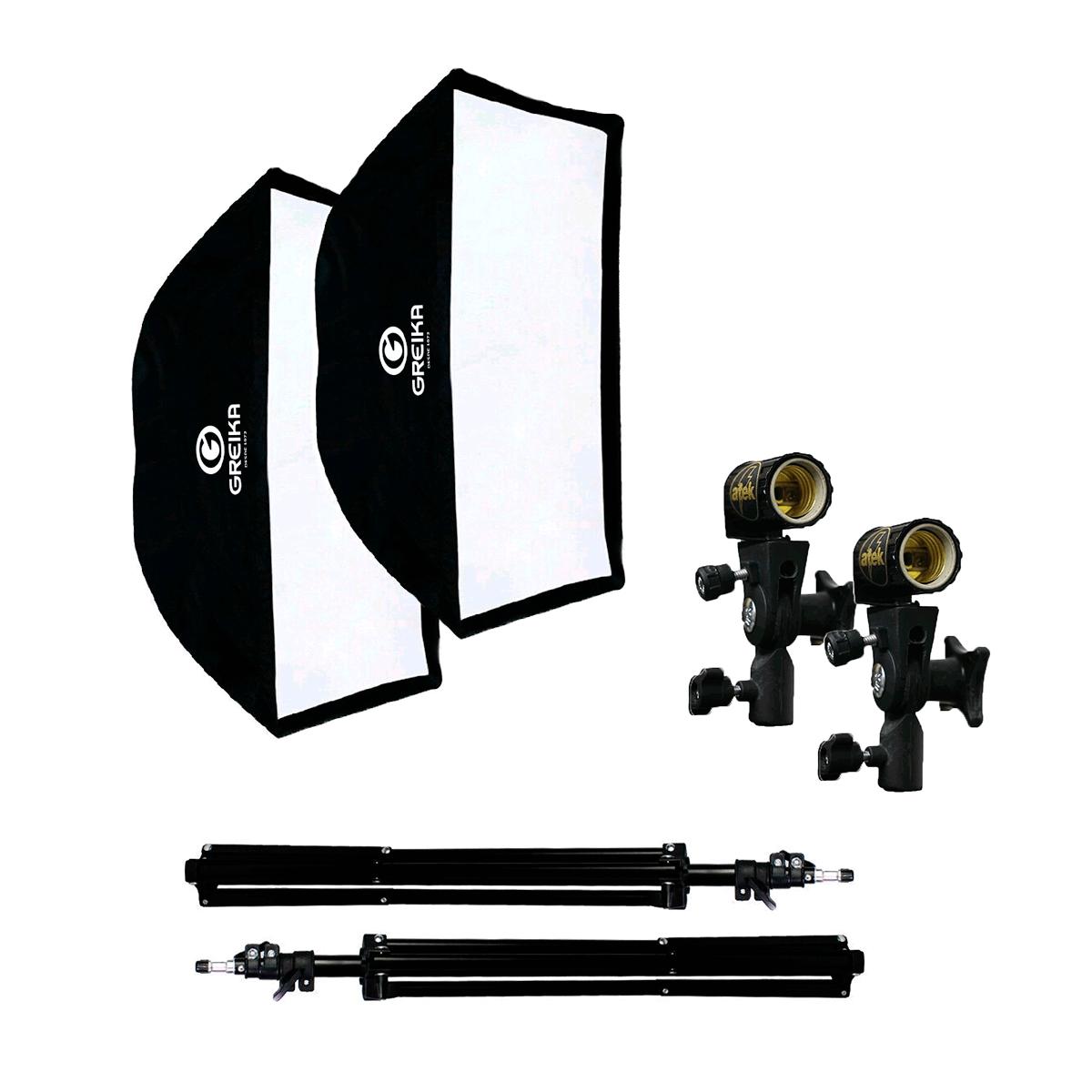 Iluminação Dupla para Gravar Vídeo com Softbox Universal 60x90, Soquetes ATEK e Tripés de 2m  - Fotolux