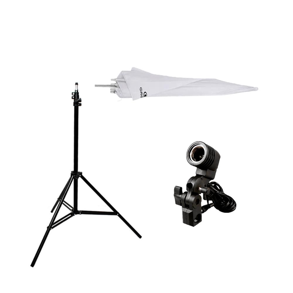 Iluminação para Foto com Sombrinha Difusora Greika 84cm e Tripé de 2m  - Fotolux